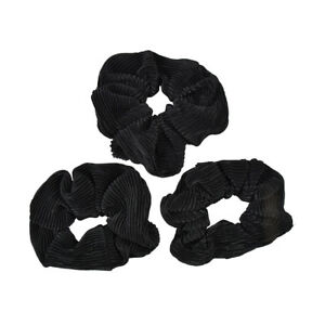 3 Black Scrunchies Pleated Satin Woman Ponytail Girl's Hair Accessory Bobbles
