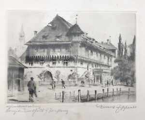 Beautiful Old Etching - Old Home - Signed Ernst Zipperer