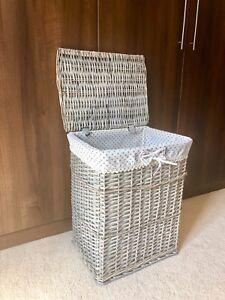 Grey Large Family Size Shabby Chic Rattan Wicker Laundry Basket Storage Rustic