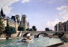 John Stobart Print - Paris: Notre Dame and Pont St. Michel