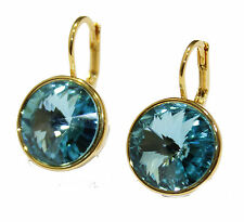 Swarovski Elements Turquoise Bella Earrings Gold Plated Dangle Leverback