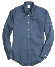 Brooks Brothers Regent Fit  Linen Sport Shirt in Blue Size XL