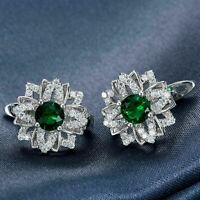 0.80 Ct Emerald & Diamond Flower Russian Hoop Earrings 14K White Gold Over