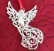 Lenox Sparkle & and Scroll Angel Christmas Ornament NIB - Multi Crystal