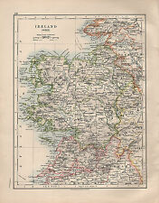 1914 MAP ~ IRELAND WEST ~ GALWAY MAYO CLARE TIPPERARY