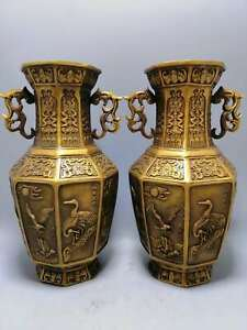 Collect Chinese Bronze Crane Eagle Fish Chicken Octahedral Dragon Ear Pair Vase