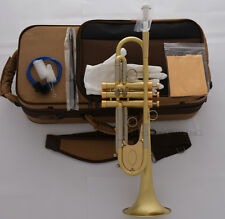 Customized Professional Heavy Bb Trumpet Horn Monel Piston Brushed Brass Finish
