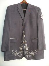Crown Holder With Crest Logo Gray Blazer Size 46R Men's