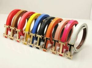 Womens Ladies Gold Metal Buckle Leather Thin Narrow Skinny Waist Belts Band