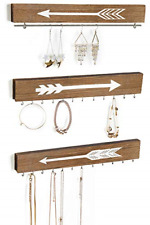 Farmhouse Wood Jewelry Organizer WallMounted Hanging Necklace Holder Earring Bar