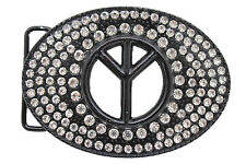 Men Women Belt Buckle Hippie Fashion Black Metal Peace Sign Freedom Silver 80's