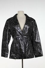 Rem Garson Womens Jacket Size M Black Distressed Patent Leather Coat