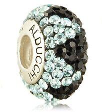 Alducchi Topaz Blue - Black  Swarovski Crystal 925 Silver European Charm Bead