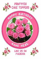 ND5 pink roses birthday personalised round cake topper icing