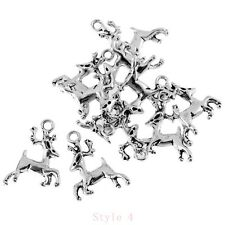 Stag Deer 3D Tibetan Silver Bead charms Pendants fit DIY bracelet 10pcs 17*23mm