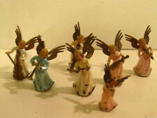 "7 Vintage Angel Musicians Christmas Hard Plastic Ornaments 3-1/4"""