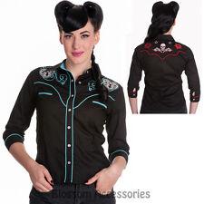 RKP64 Hell Bunny Western Locked Heart Top 50s Rockabilly Skull Rose Blouse Shirt