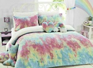 Teddy Bear Fleece Rainbow Tie Dye Duvet Quilt Cover Super Soft Kids Bedding Set