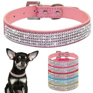 Bling Rhinestone Diamond Dog Collar Leather Diamante Dog Puppy Cat Kitten XS S M