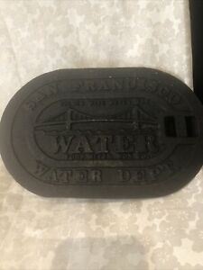 VINTAGE SAN FRANCISCO GOLDEN GATE BRIDGE VINTAGE BLK IRON WATER METER BOX COVER