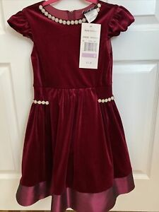 NWT $70 Rare Editions Girls Holiday Christmas Dress Burgundy Pearls Size 6 Tulle