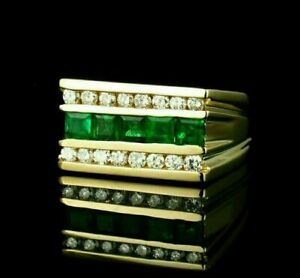 2.2 Ct Green Emerald Engagement & Wedding Ring Band 14K Yellow Gold Filled