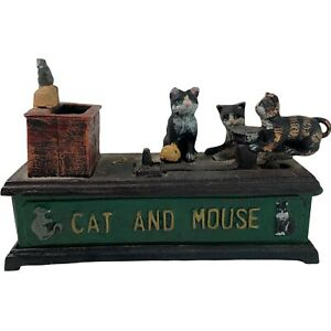 Vintage Repro Cast Iron Cat And Mouse Money Box Mechanical Lever Heavy