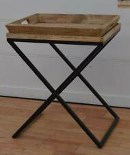 Wood Side Table / Bedside / End Table - Metal X Legs - Removable Serving Tray