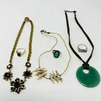 3 Necklaces ~  Jade Mother of Pearl MOP  3 Sterling Silver .925 Rings Turquoise