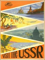 Visit the USSR Scenic Russia Vintage Russian Travel  Art Poster Print