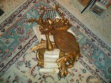 Vintage Harp & Mandolin Music Gold Shabby Resin Wall Hanging Dart Ind.