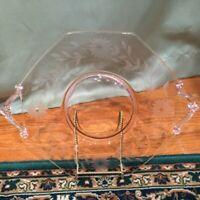 Lancaster Jubilee Pink Etched Depression Glass Handled Cake Plate 1930s Vintage
