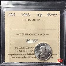 1963 Canada 10 Cents - ICCS MS65 - Old Certification WM 055