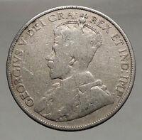 1913 CANADA - Original Antique Silver 50 Cents Coin under King GEORGE V i56686