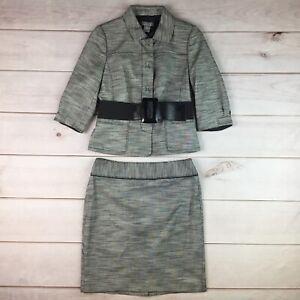NWT $328 Ann Taylor 8 Petite Gray Italian Fabric Belted Blazer Pencil Skirt Suit