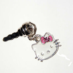 hello kitty Pink Bow phone charm plug -dust cell phone