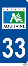 1 Sticker plaque immatriculation AUTO adhésif département 33