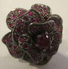 Estate Ring  Ruby Flower Ring  Sz 6  Silver Black Rodium Mint