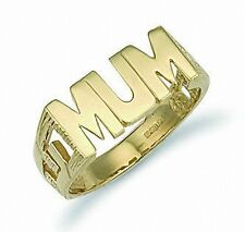 Gold MUM Ring Yellow Gold Solid Hallmarked Ladies Size K - S