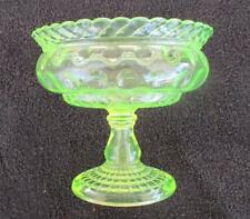 CENTRAL GLASS CO LATTICE THUMBPRINT VASELINE GLASS FOOTED COMPOTE CIRCA 1880'S
