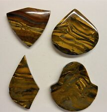 Tigereye Iron Tiger Eye Pendant Beads LOT of 4 Top Drilled Various Shapes **