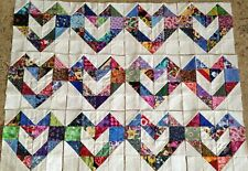 12 Scrappy Love Hearts Quilt Blocks Top Cotton Fabric Squares made in Usa