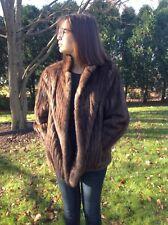 Vintage Stripe Natural Norwegian Brown Mink Fur Car Coat Jacket Large Peerless