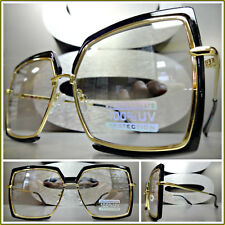 VINTAGE RETRO Style Clear Lens Light Tint SUN GLASSES Square Black & Gold Frame