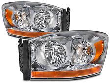 2006 Dodge Ram Pickup Chrome Headlights Headlamps Pair Set Halogen W/Xenons New(Fits: Dodge)