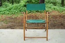 Vintage Wood Folding Chair Green Canvas Deck Patio Beach #2