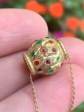 Estate 14 kt Yellow Gold Gemstone Bead Pendant Necklace 3.6 Grams