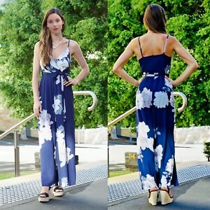 Women Strappy Jumpsuits in Blue Floral Evening Party Beach Boho Playsuit