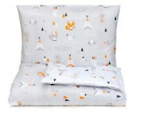 Baby Bedding Set 120x90 Two-Sided Gray For Crib Pillowcase Duvet Cover Cotton