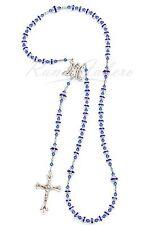 Sapphire Blue Rhinestone Catholic Prayer Rosary Beads made w/ Swarovski Crystals